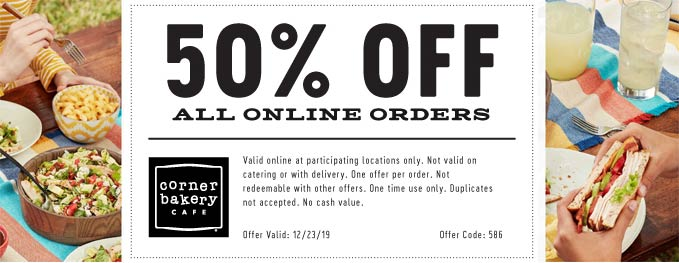 Corner Bakery Cafe Coupon January 2020 50% off online orders today at Corner Bakery Cafe via promo code 586
