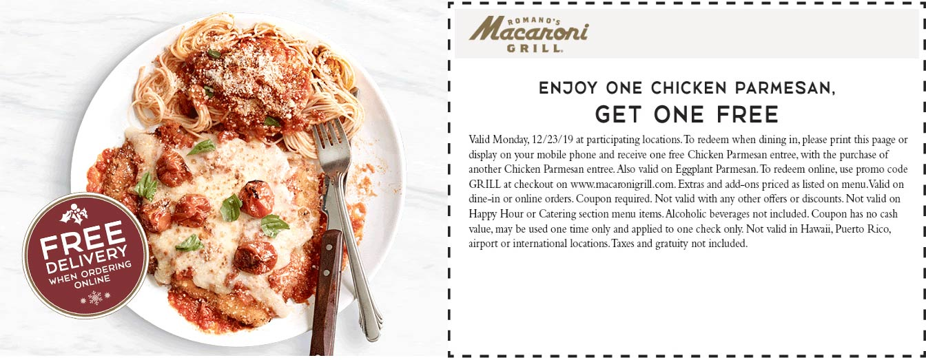 Macaroni Grill Coupon January 2020 Second chicken parmesan free today at Macaroni Grill