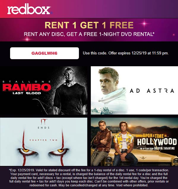 Redbox Coupon January 2020 Second movie rental free at Redbox via promo code GAG6LWH6