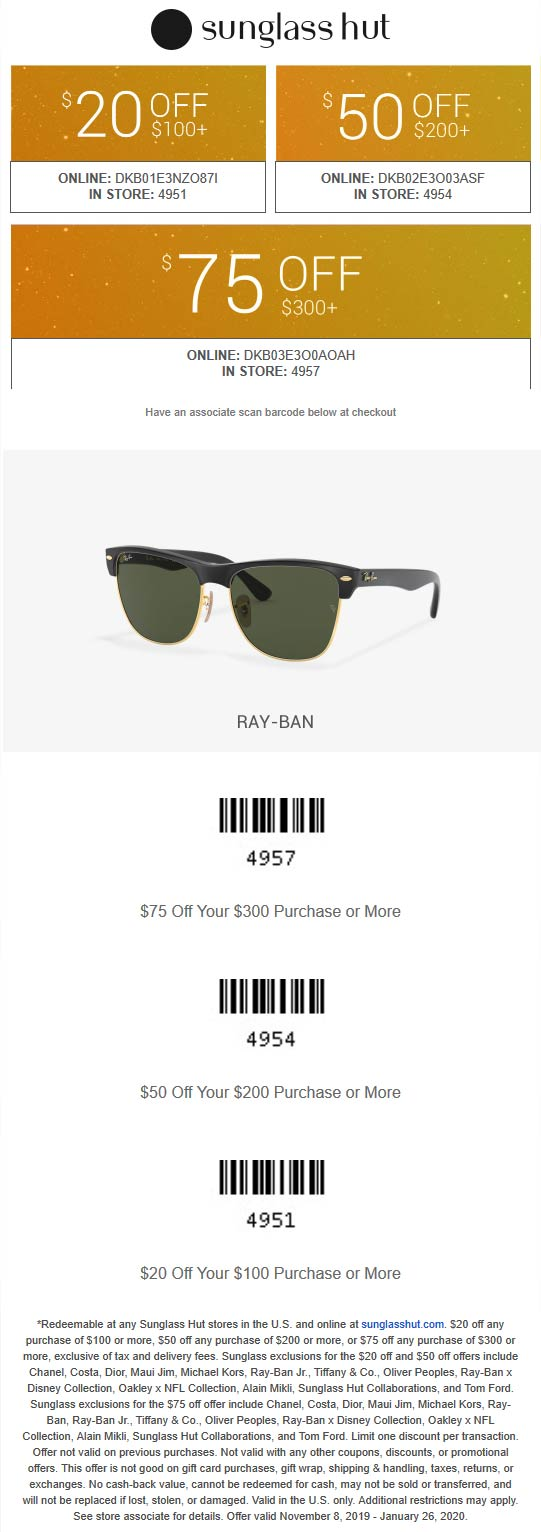 Sunglass Hut Coupon January 2020 $20 off $100 & more at Sunglass Hut, or online via promo code DKB01E3NZO87I