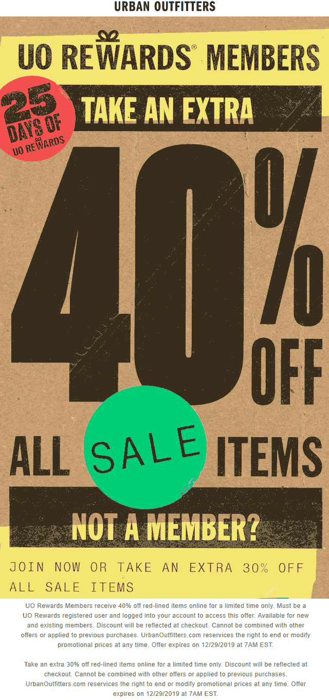 Urban Outfitters Coupon January 2020 Extra 30-40% off sale items at Urban Outfitters