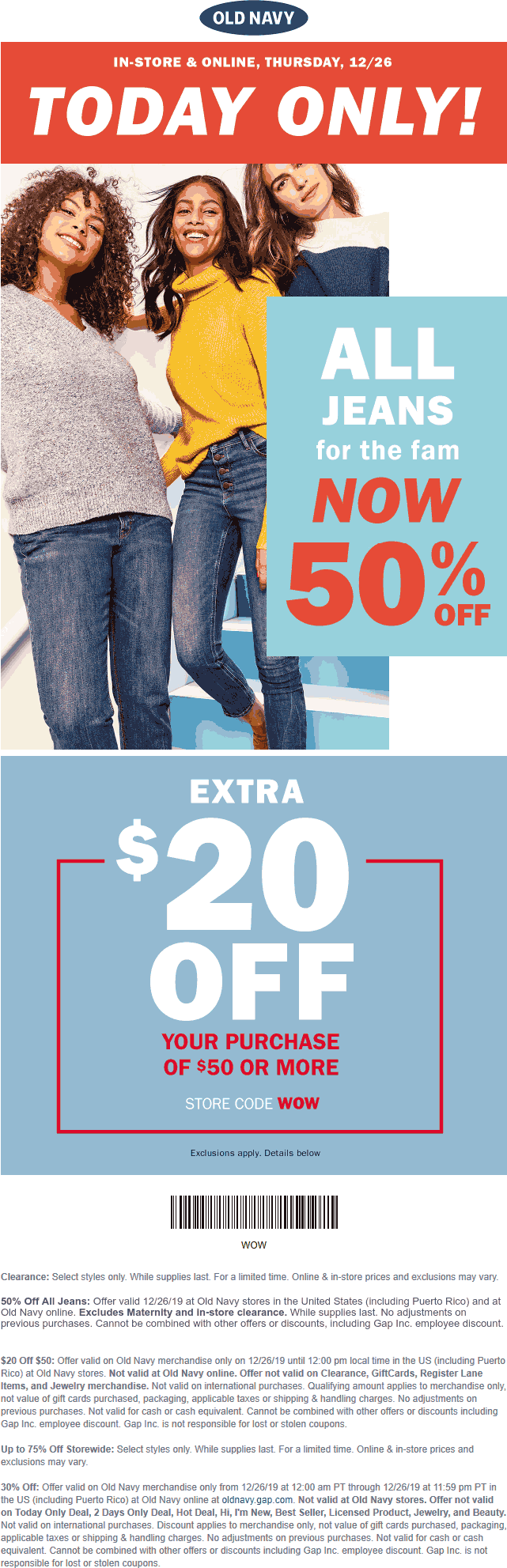 Old Navy Coupon January 2020 $20 off $50 + 50% off jeans today at Old Navy