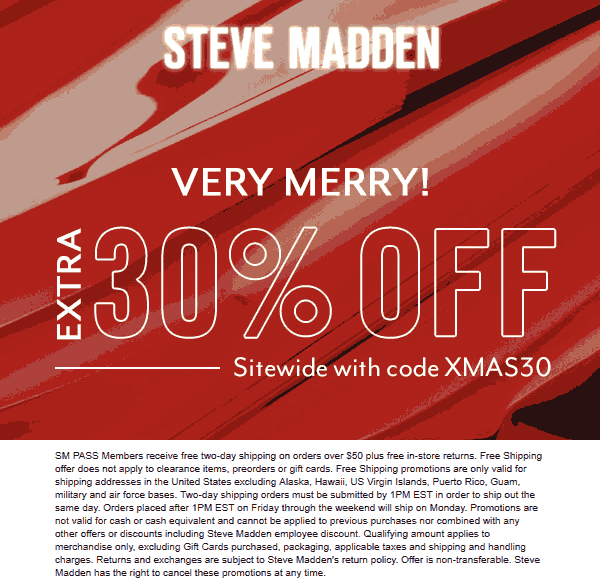 Steve Madden Coupon January 2020 Extra 30% everything online at Steve Madden via promo code XMAS30