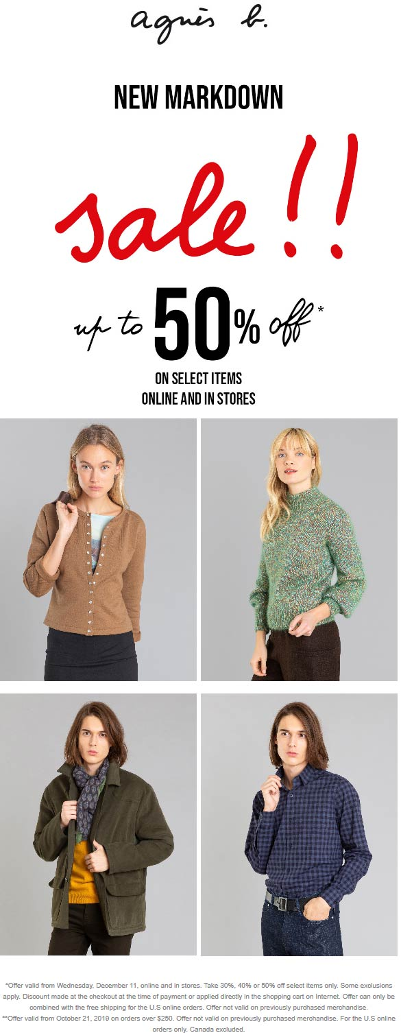Agnes B Coupon January 2020 30-50% off at Agnes B, ditto online