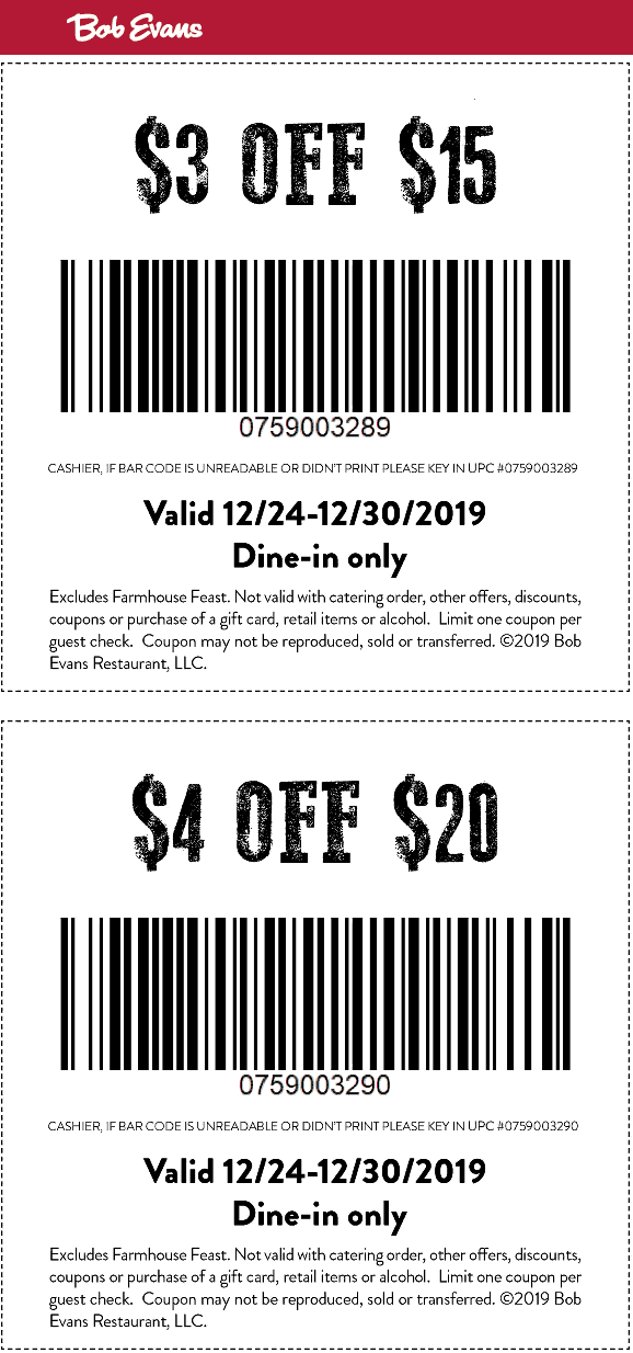 Bob Evans Coupon January 2020 $3-$4 off at Bob Evans restaurants