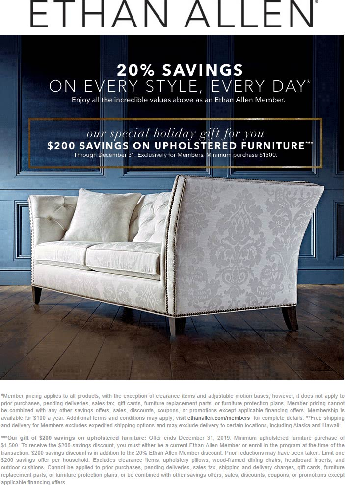 Ethan Allen Coupon January 2020 20% off + $200 off $1500 on furniture at Ethan Allen