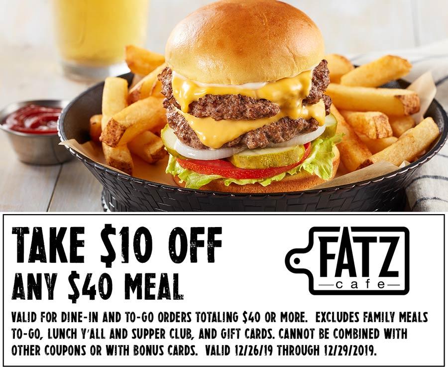 Fatz Cafe Coupon January 2020 $10 off $40 at Fatz Cafe restaurants