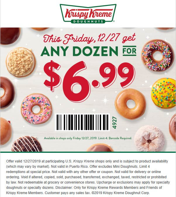Krispy Kreme Coupon January 2020 $7 dozen doughnuts today at Krispy Kreme