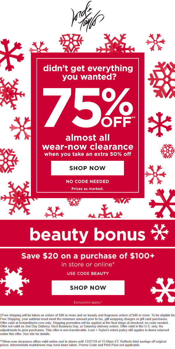 Lord & Taylor Coupon January 2020 Extra 50% off clearance today at Lord & Taylor, ditto online