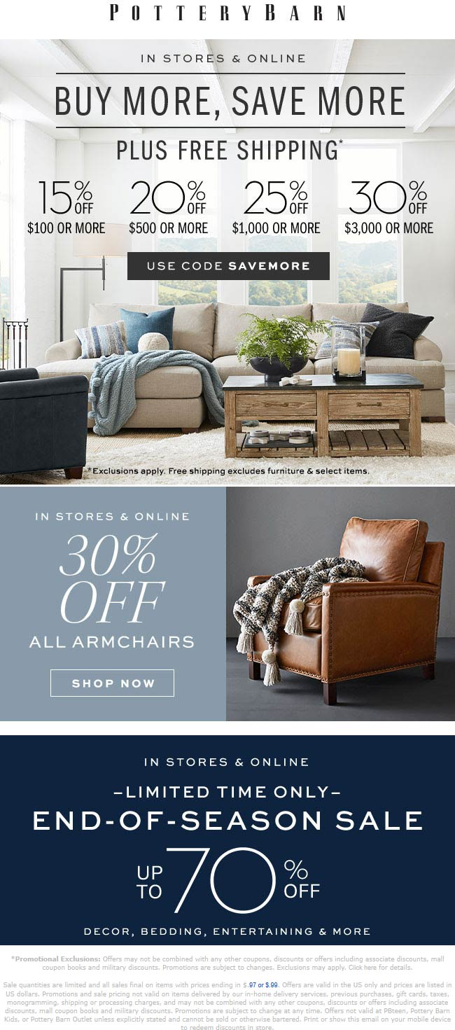 Pottery Barn Coupon January 2020 15-30% off at Pottery Barn, or online via promo code SAVEMORE