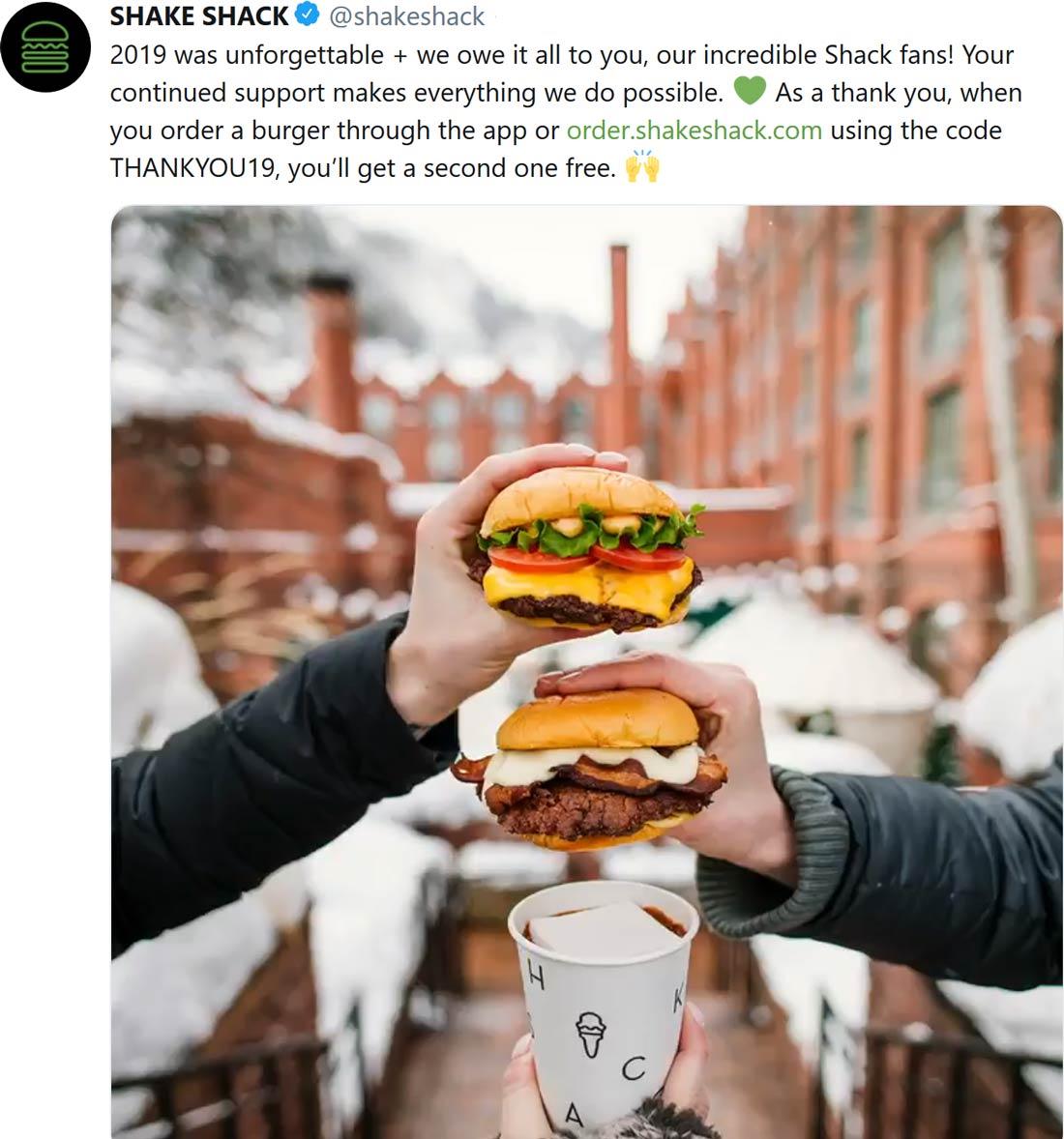 Shake Shack Coupon January 2020 Second burger free at Shake Shack via promo code THANKYOU19