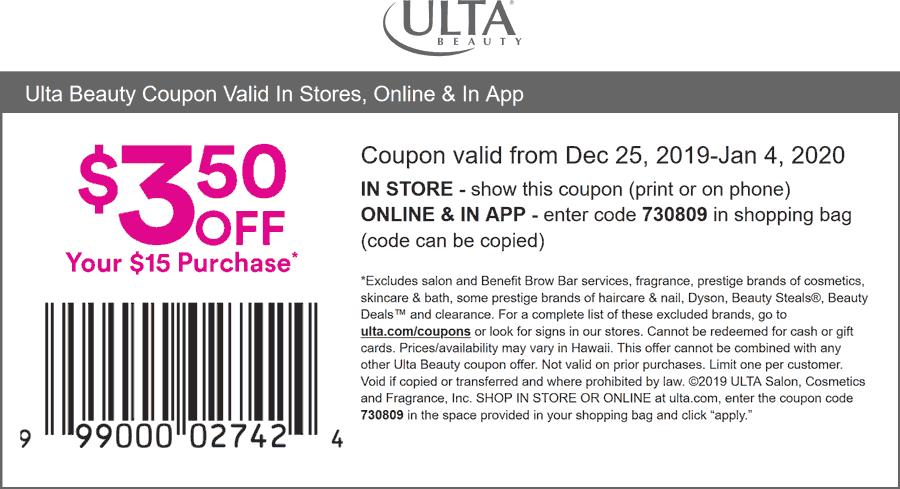 Ulta Coupon January 2020 $3.50 off %15 at Ulta Beauty, or online via promo code 730809