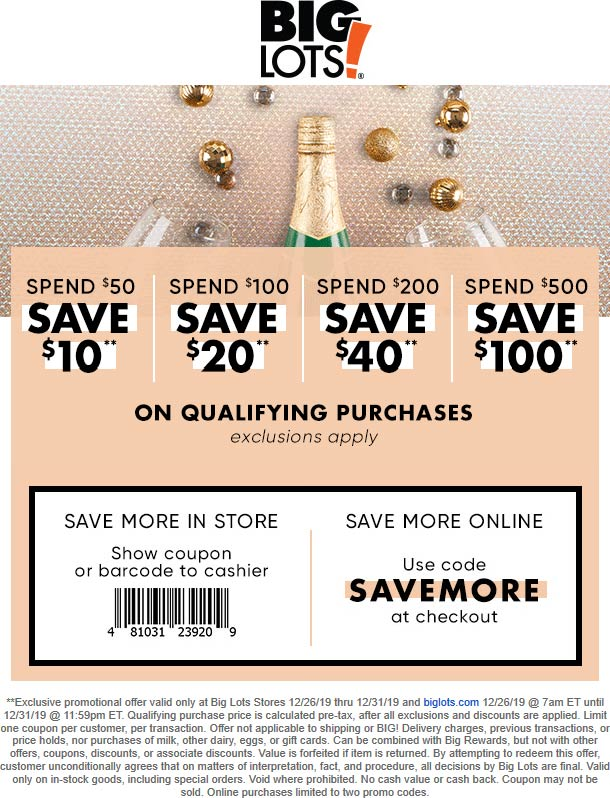Big Lots Coupon January 2020 $10 off $50 & more at Big Lots, or online via promo code SAVEMORE