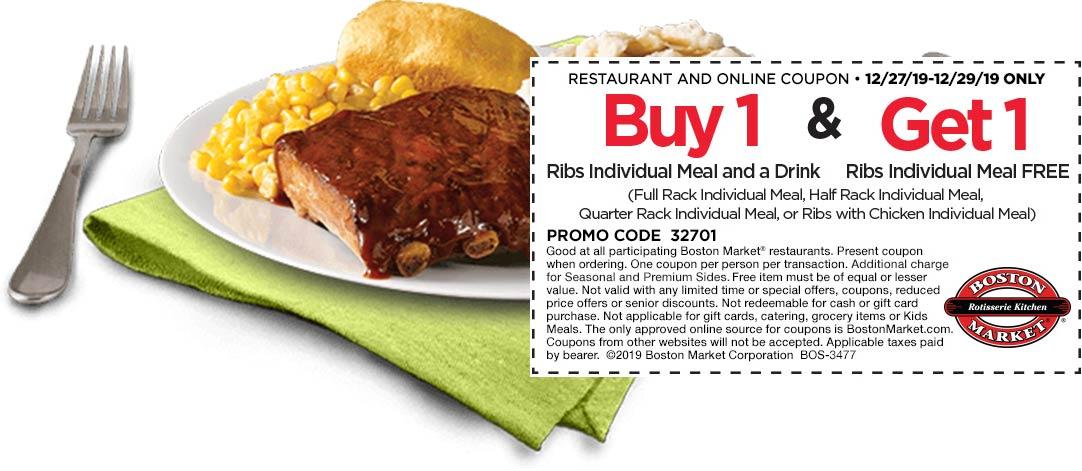 Boston Market Coupon January 2020 Second ribs meal free at Boston Market