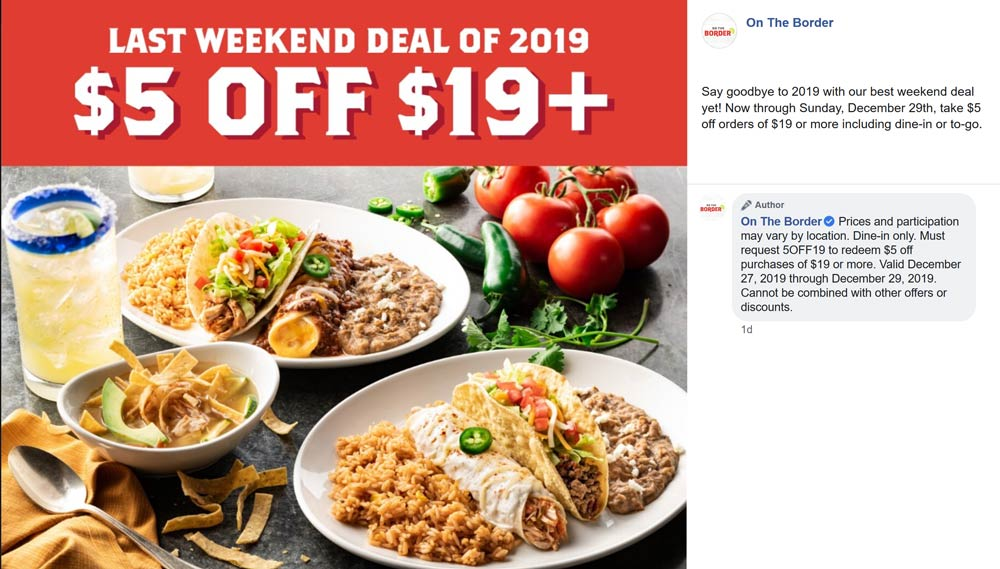 On The Border Coupon January 2020 $5 off $19 at On The Border restaurants via promo code 5OFF19