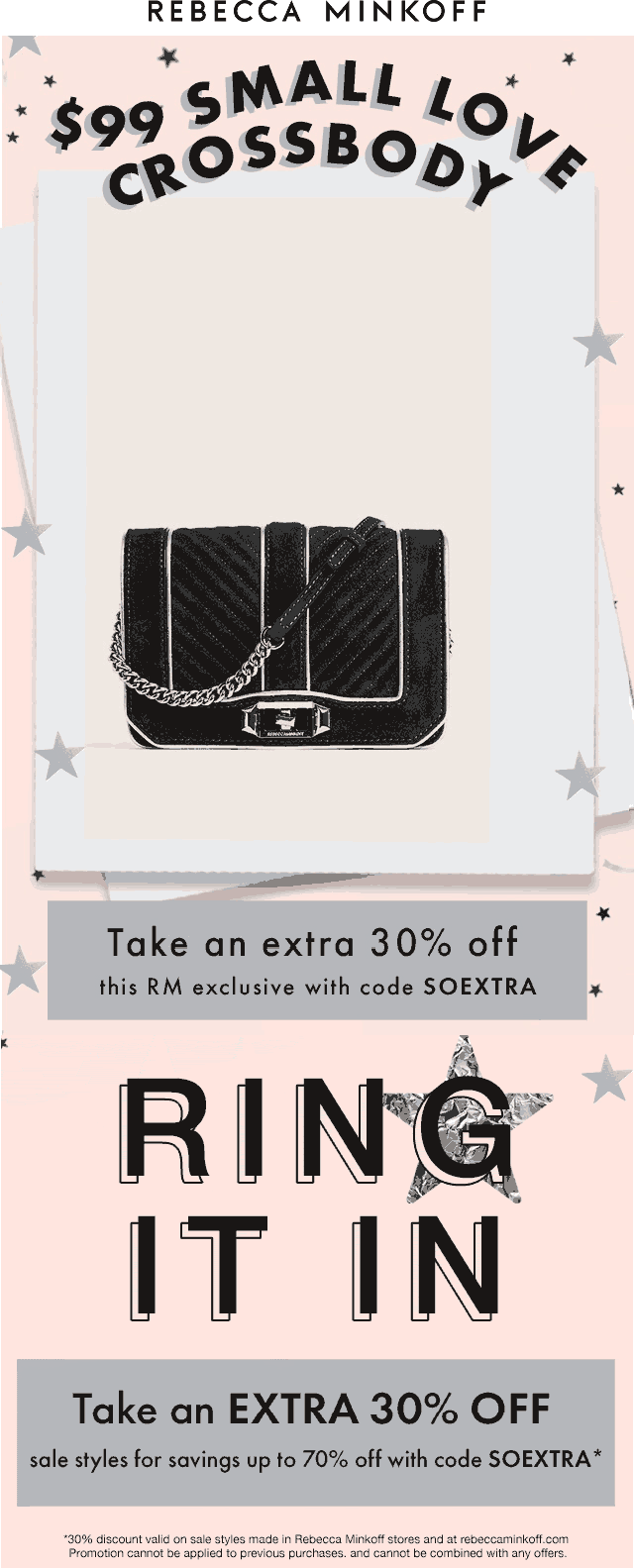 Rebecca Minkoff Coupon January 2020 Extra 30% off at Rebecca Minkoff, or online via promo code SOEXTRA