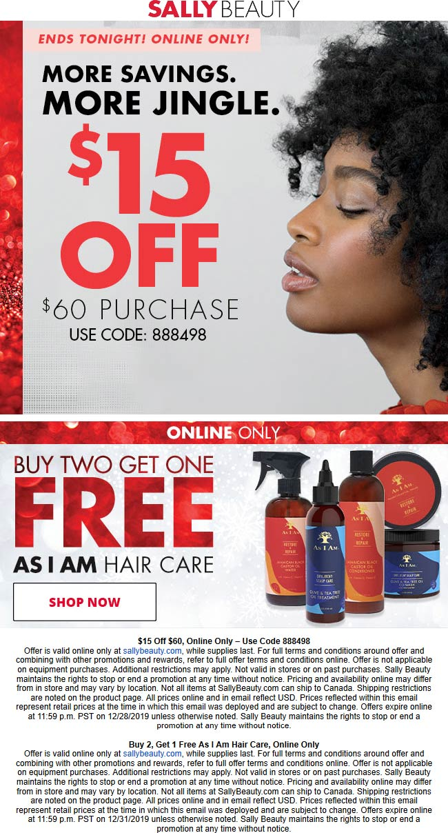 Sally Beauty Coupon January 2020 $15 off $60 online today at Sally Beauty via promo code 888498