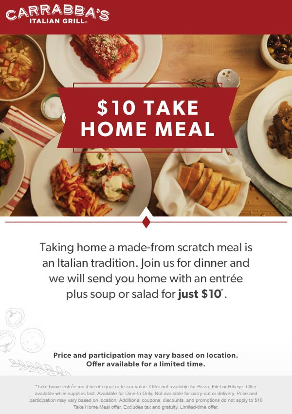 Carrabbas Coupon January 2020 $10 take home meal with your dinner at Carrabbas Italian Grill