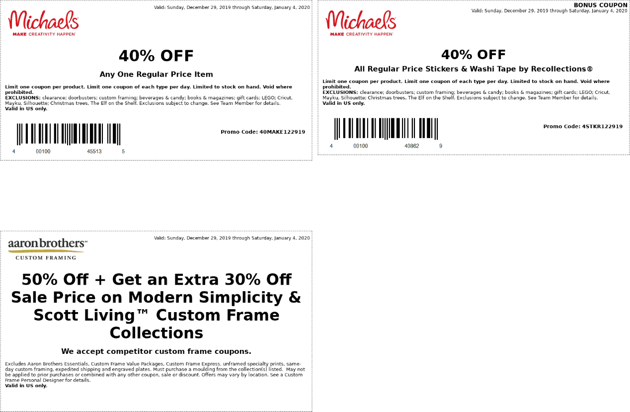 Michaels Coupon January 2020 40% off a single item at Michaels, or online via promo code 40MAKE122919