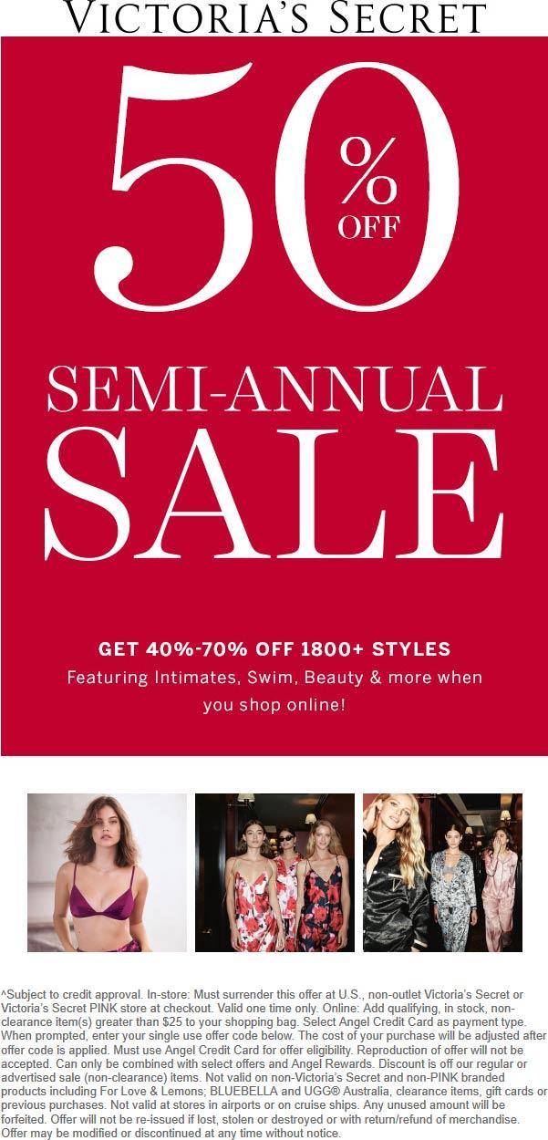 Victorias Secret Coupon January 2020 40-70% off at PINK & Victorias Secret, ditto online