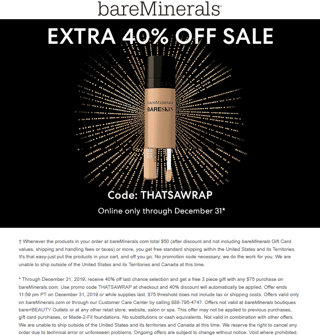bareMinerals Coupon January 2020 Extra 40% off sale items online at bareMinerals via promo code THATSAWRAP