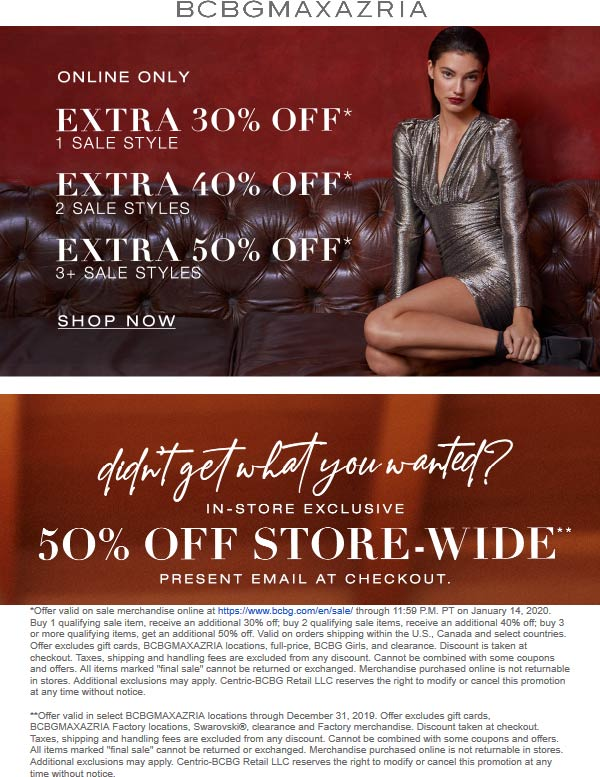 BCBG Coupon January 2020 50% off at BCBGMAXAZRIA, ditto online