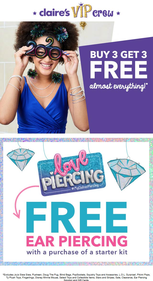 Claires Coupon January 2020 6-for-3 at Claires, ditto online