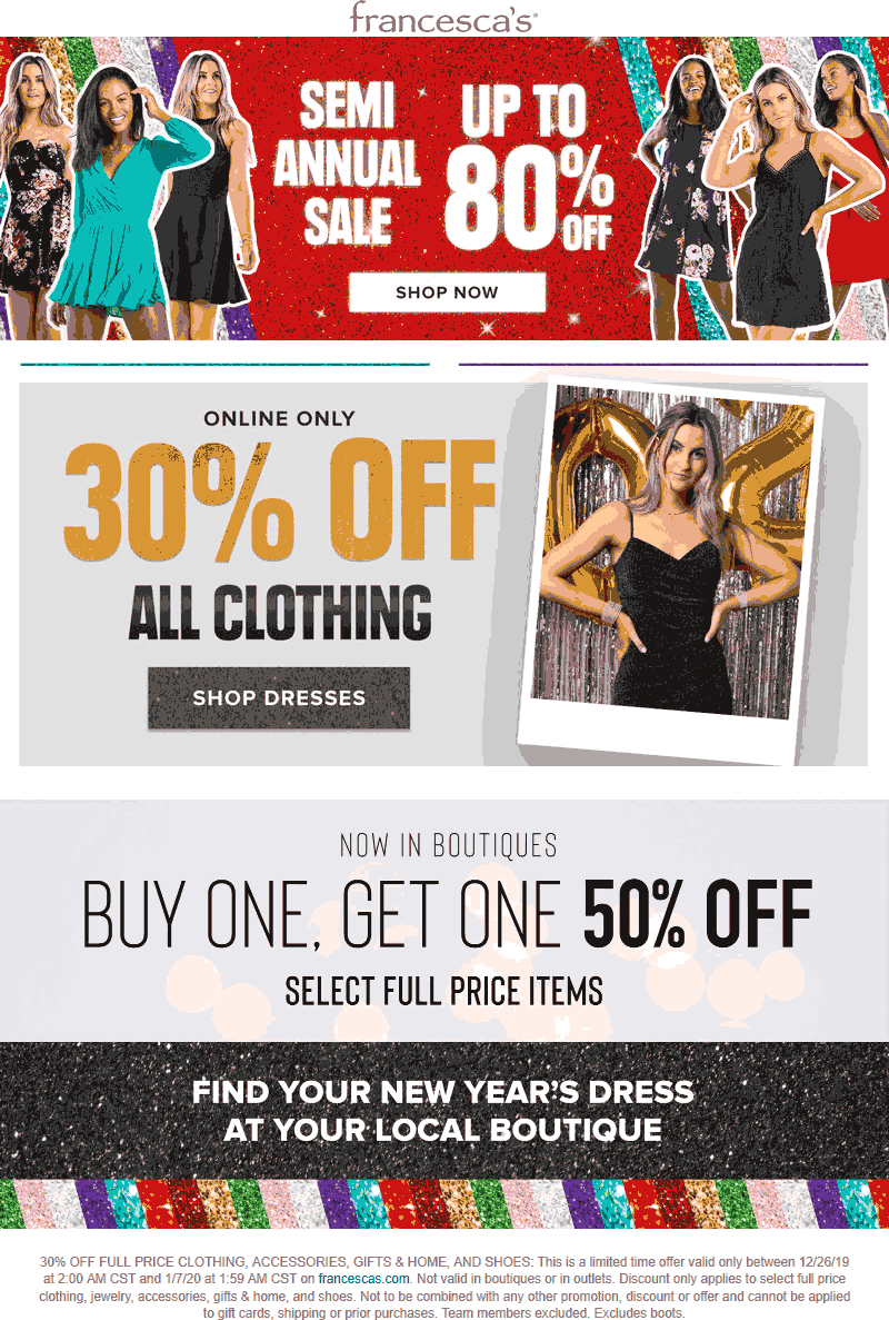 Francescas Coupon January 2020 Second item 50% off at Francescas, or 30% off clothing online