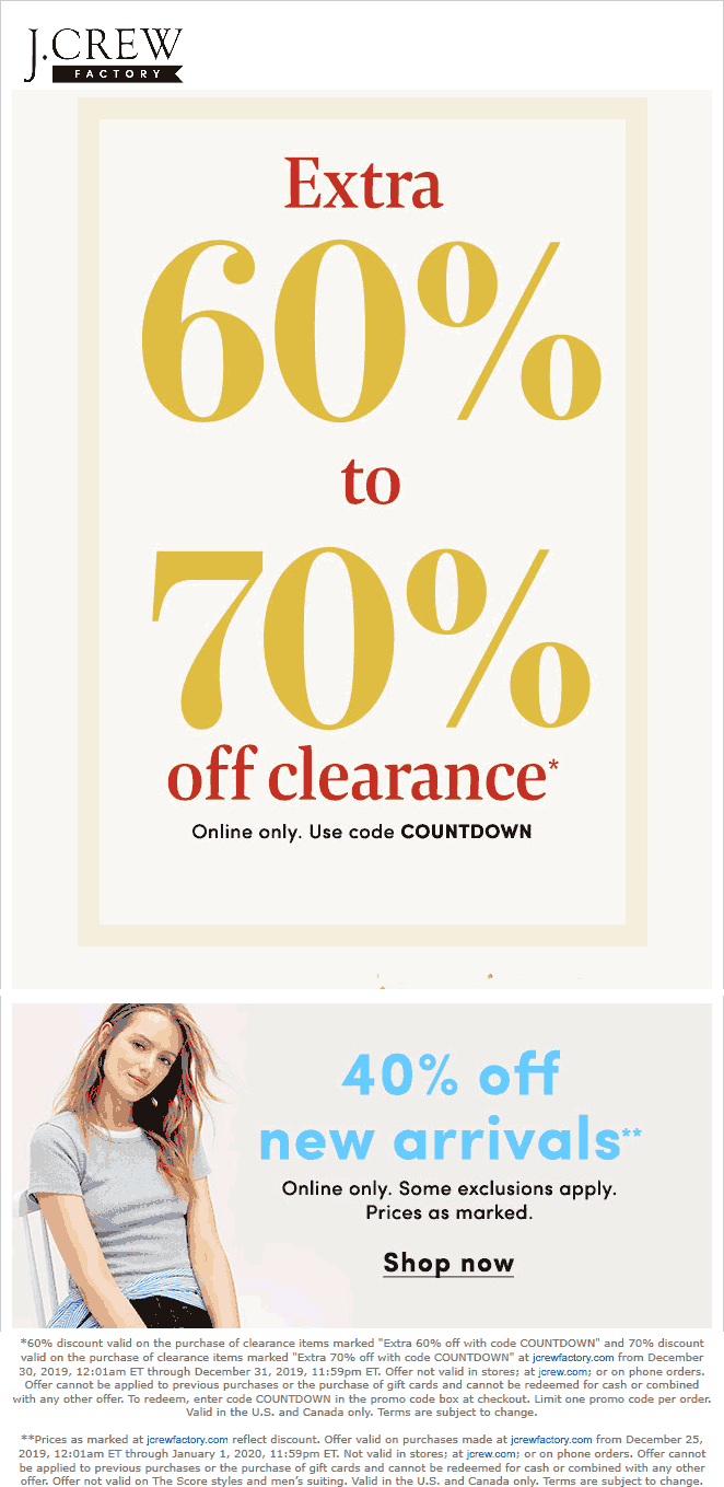 J.Crew Factory Coupon January 2020 Extra 40% off new arrivals & 60% off clearance online at J.Crew Factory