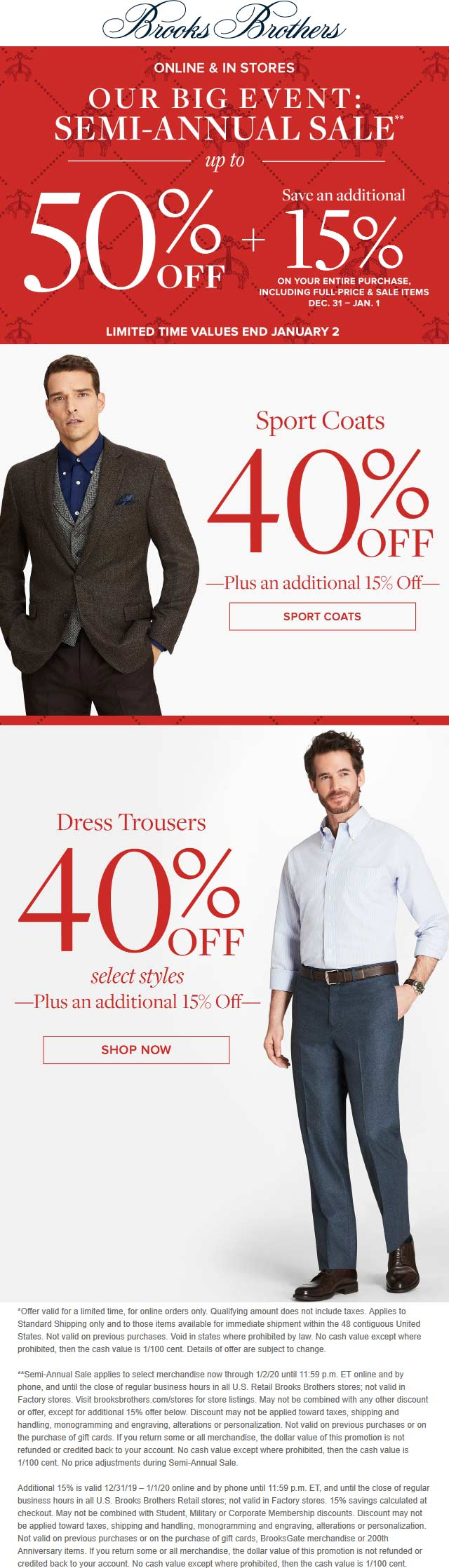 Brooks Brothers Coupon January 2020 Extra 15% off at Brooks Brothers, ditto online