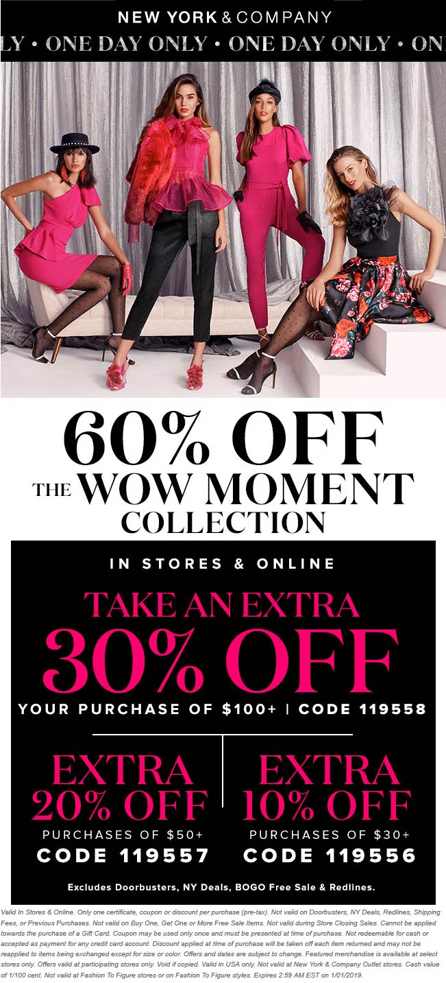 New York & Company Coupon January 2020 30% off $100 today at New York & Company, or online via promo code 119558