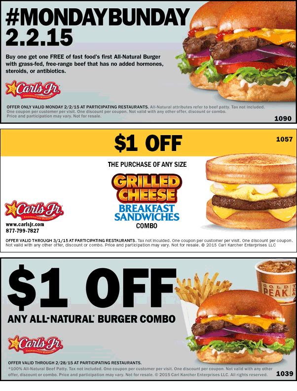 Carls Jr Coupon May 2017 Second burger free Monday at Carls Jr