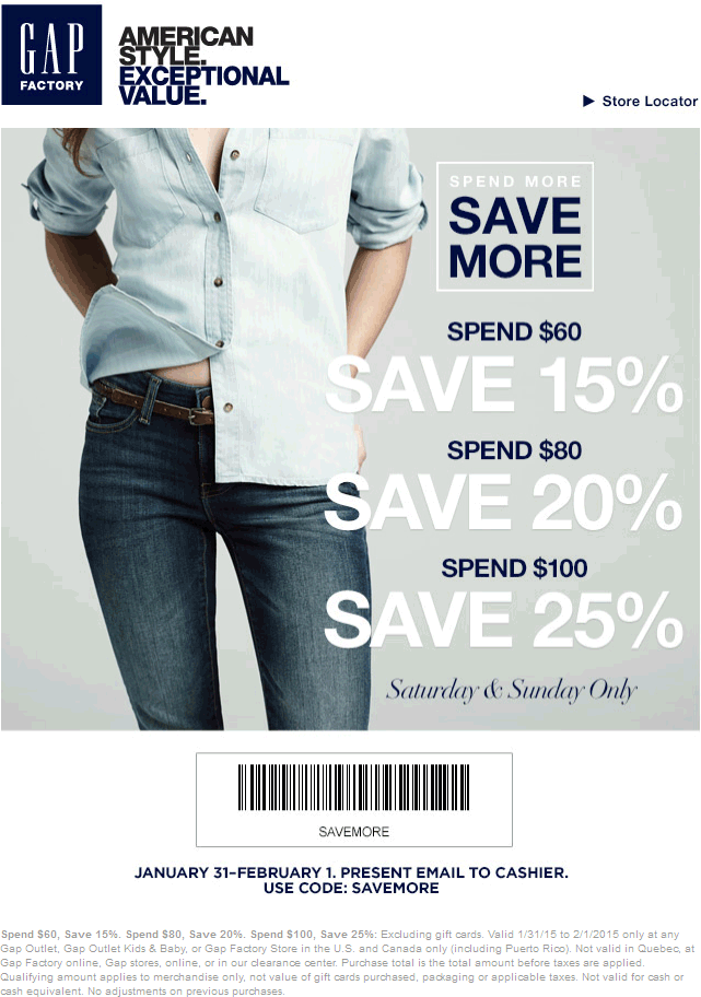 Gap Factory Coupon February 2017 15-25% off $60+ today at Gap Factory