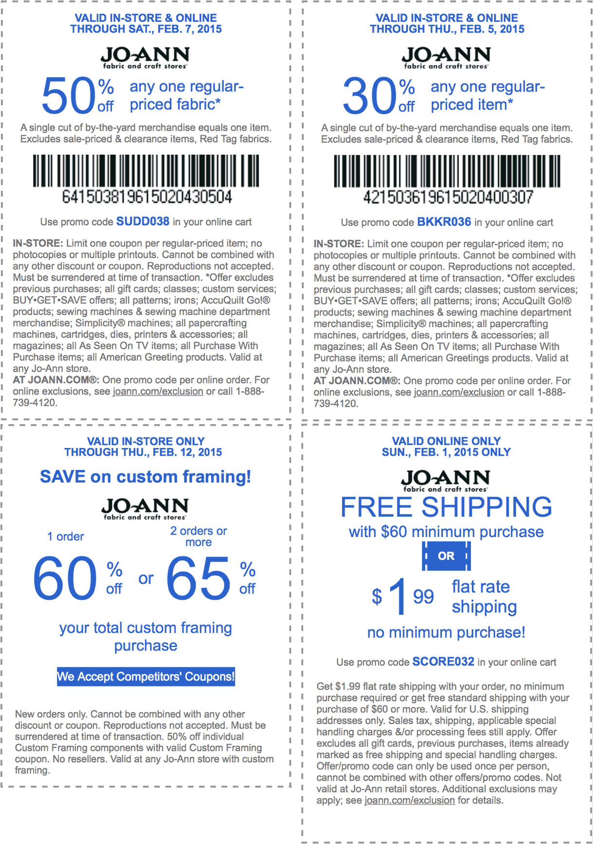 Jo-Ann Fabric Coupon November 2018 50% off a single fabric & more at Jo-Ann Fabric, or online via promo code SUDD038