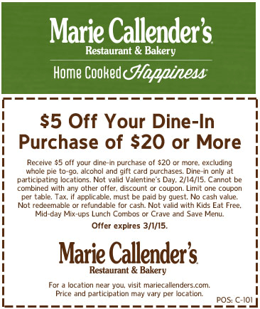Marie Callenders Coupon May 2019 $5 off $20 at Marie Callenders restaurant & bakery
