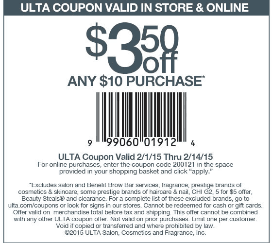 Ulta Coupon March 2017 $3 off $10 at Ulta, or online via promo code 200121
