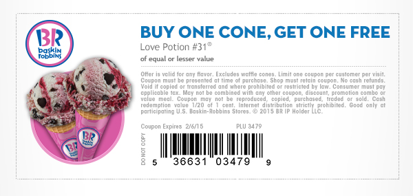Baskin Robbins Coupon June 2017 Second ice cream cone free at Baskin Robbins