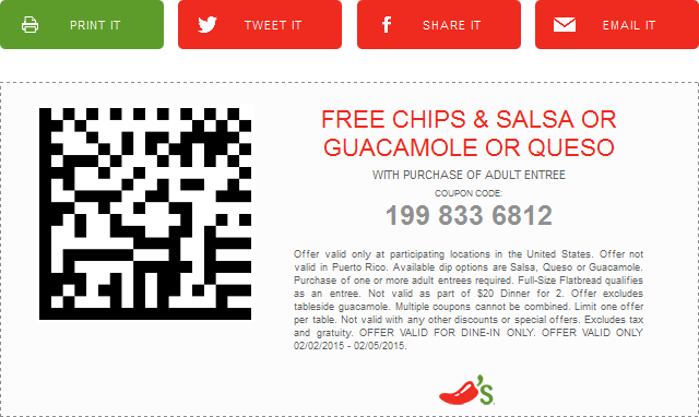 Chilis Coupon October 2016 Chips & dip free with your entree at Chilis