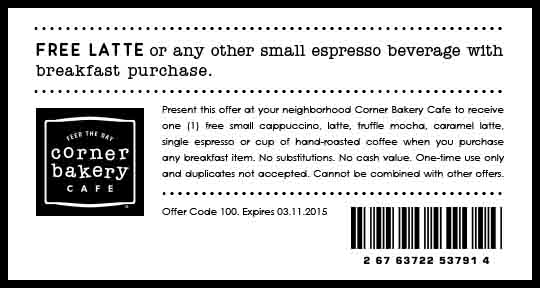 Corner Bakery Cafe Coupon June 2017 Free espresso with your breakfast at Corner Bakery Cafe