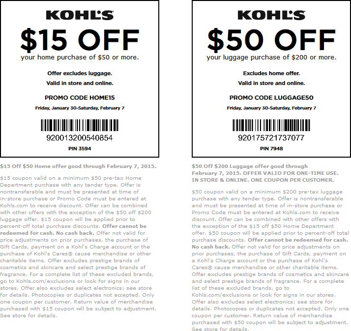 Kohls Coupon March 2017 $15 off $50 on home goods, $50 off $200 luggage at Kohls, or online via promo code HOME15