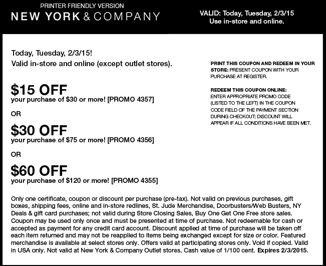 New York & Company Coupon May 2017 $15 off $30 & more today at New York & Company, or online via promo code 4357