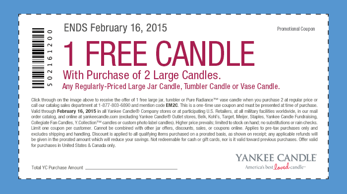 Yankee Candle Coupon October 2016 Third large candle free at Yankee Candle, or online via promo code EM2C