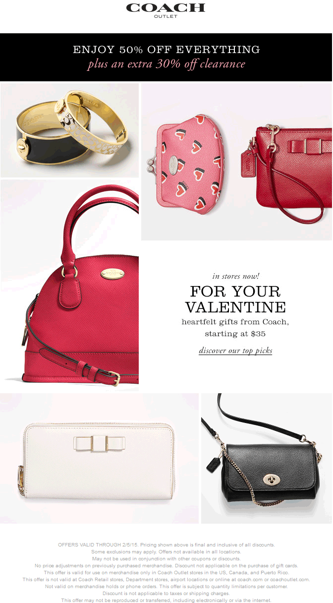 Coach Outlet Coupon February 2019 Extra 50% off everything + 30% off clearance at Coach Outlet