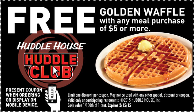 Huddle House Coupon February 2019 Free waffle with your meal at Huddle House