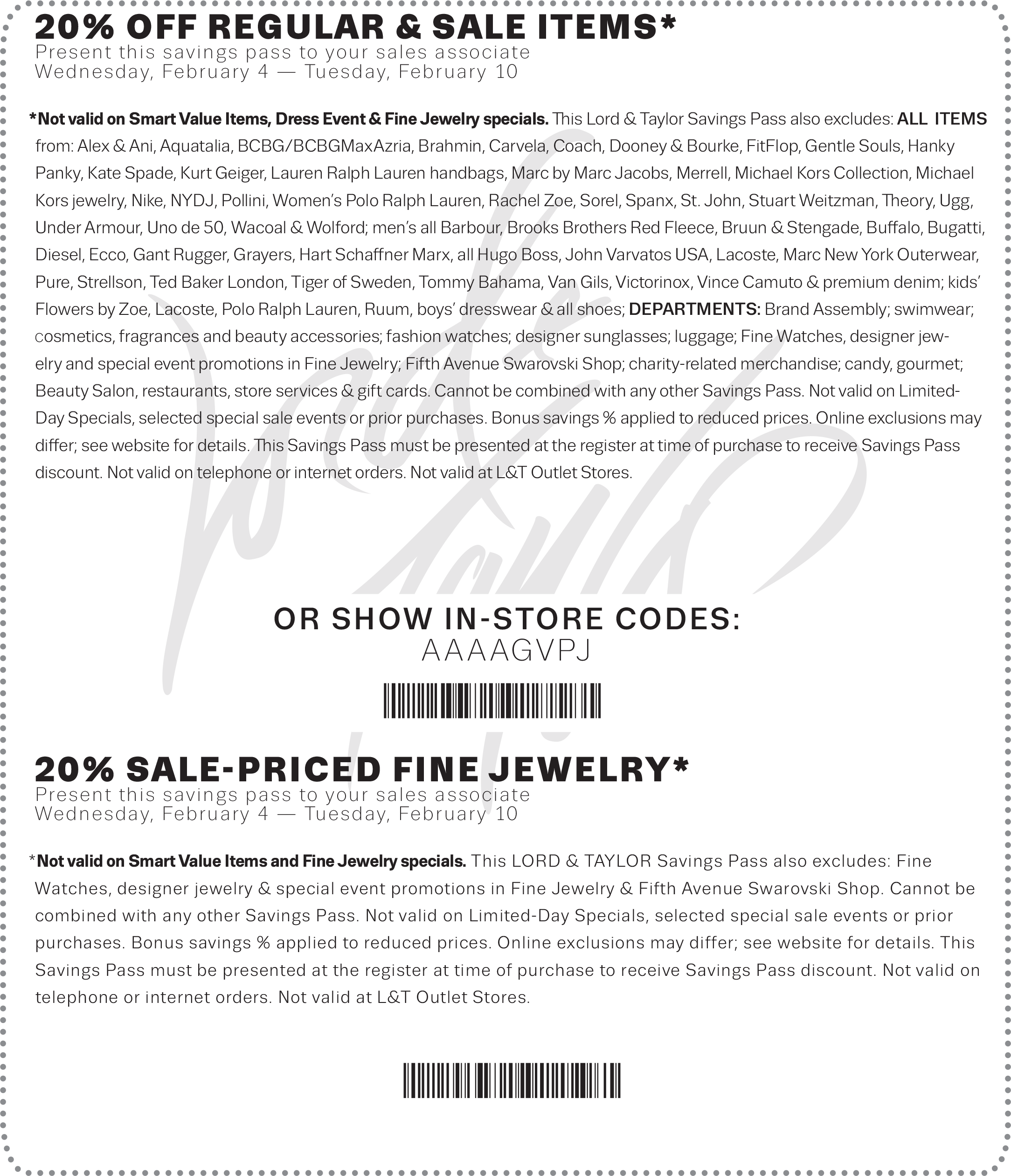 Lord & Taylor Coupon January 2019 20% off at Lord & Taylor, or online via promo code BONUS