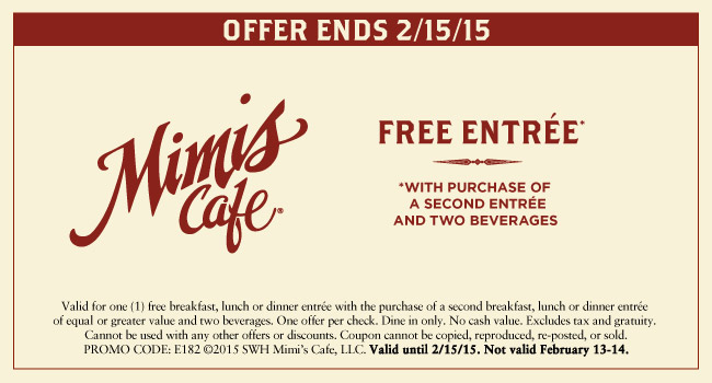Mimis Cafe Coupon January 2018 Second entree free at Mimis Cafe