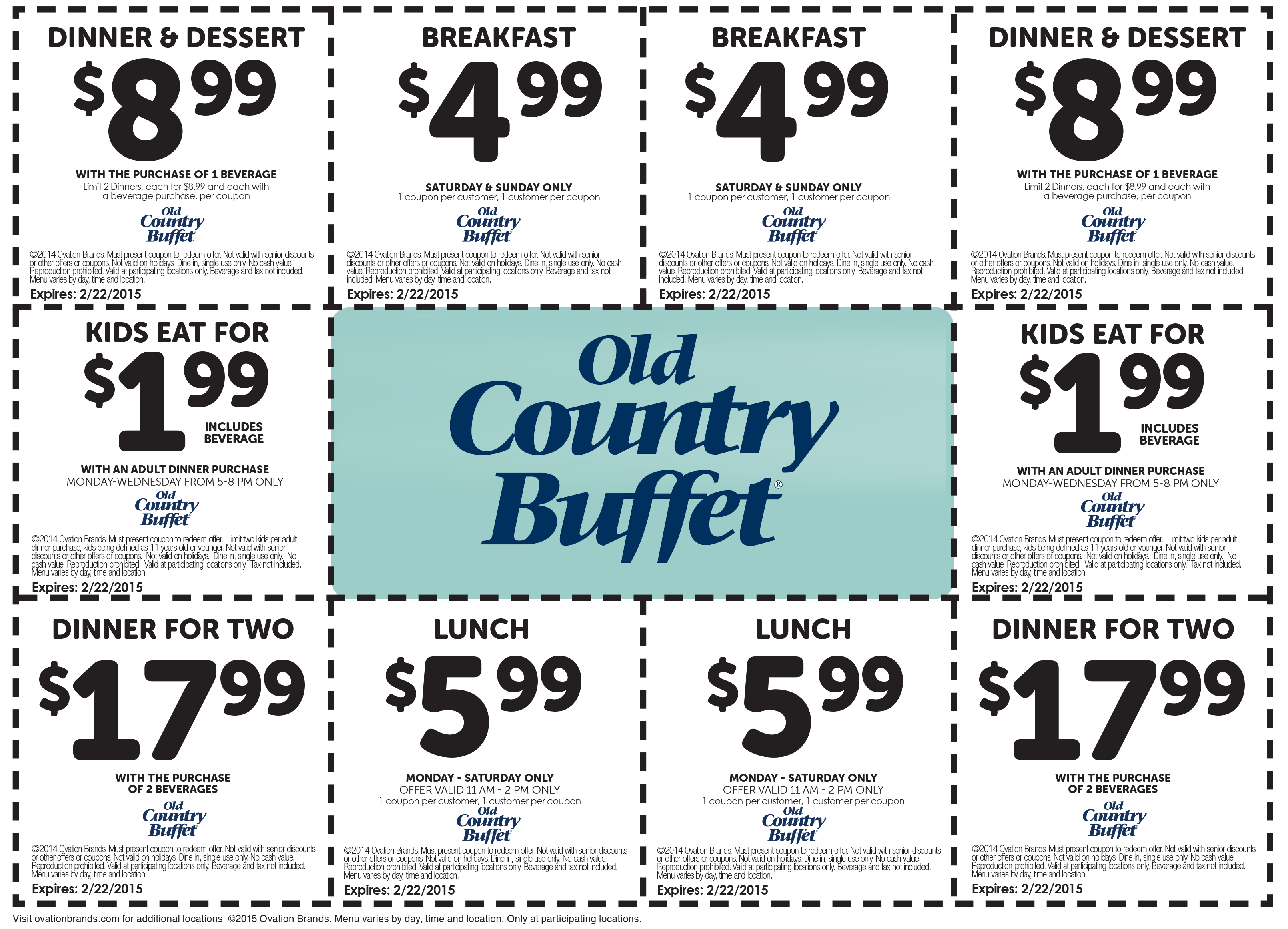 Old Country Buffet Coupon December 2016 $5 breakfast, $6 lunch & more at Old Country Buffet