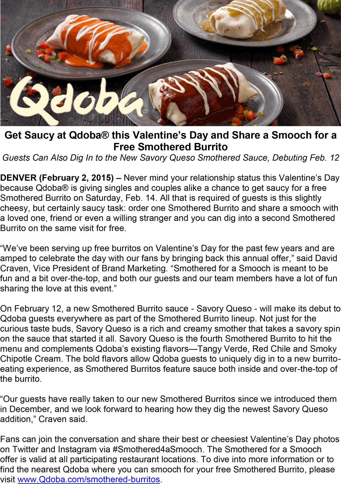 Qdoba Coupon May 2017 Second smothered burrito free for a Valentine kiss at Qdoba