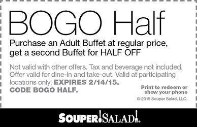 Souper Salad Coupon October 2017 Second buffet 50% off at Souper Salad restaurants