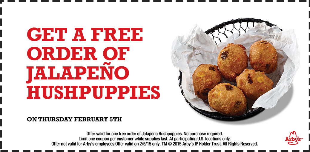 Arbys Coupon December 2016 Free jalapeno hush puppies today at Arbys, no purchase necessary